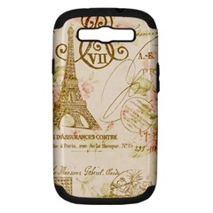 Floral Eiffel Tower Vintage French Paris Art Samsung Galaxy S Iii Hardshell Case (pc+silicone)