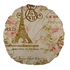 Floral Eiffel Tower Vintage French Paris Art 18  Premium Round Cushion  by chicelegantboutique