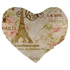 Floral Eiffel Tower Vintage French Paris Art 19  Premium Heart Shape Cushion by chicelegantboutique