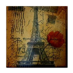 Vintage Stamps Postage Poppy Flower Floral Eiffel Tower Vintage Paris Ceramic Tile by chicelegantboutique