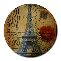 Vintage Stamps Postage Poppy Flower Floral Eiffel Tower Vintage Paris 8  Mouse Pad (round) by chicelegantboutique