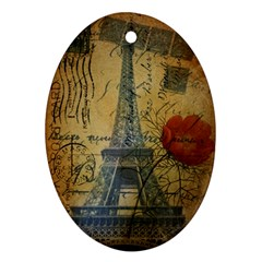 Vintage Stamps Postage Poppy Flower Floral Eiffel Tower Vintage Paris Oval Ornament by chicelegantboutique