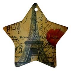 Vintage Stamps Postage Poppy Flower Floral Eiffel Tower Vintage Paris Star Ornament by chicelegantboutique