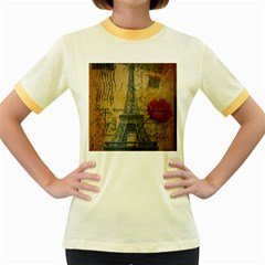 Vintage Stamps Postage Poppy Flower Floral Eiffel Tower Vintage Paris Womens  Ringer T Shirt (colored) by chicelegantboutique