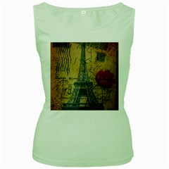 Vintage Stamps Postage Poppy Flower Floral Eiffel Tower Vintage Paris Womens  Tank Top (green) by chicelegantboutique