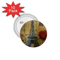Vintage Stamps Postage Poppy Flower Floral Eiffel Tower Vintage Paris 1 75  Button (10 Pack) by chicelegantboutique