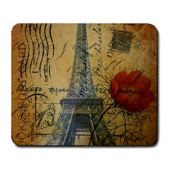 Vintage Stamps Postage Poppy Flower Floral Eiffel Tower Vintage Paris Large Mouse Pad (rectangle) by chicelegantboutique