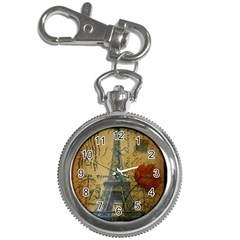Vintage Stamps Postage Poppy Flower Floral Eiffel Tower Vintage Paris Key Chain & Watch by chicelegantboutique