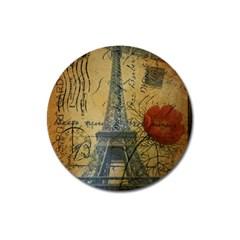 Vintage Stamps Postage Poppy Flower Floral Eiffel Tower Vintage Paris Magnet 3  (round) by chicelegantboutique