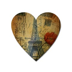 Vintage Stamps Postage Poppy Flower Floral Eiffel Tower Vintage Paris Magnet (heart) by chicelegantboutique
