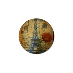Vintage Stamps Postage Poppy Flower Floral Eiffel Tower Vintage Paris Golf Ball Marker by chicelegantboutique