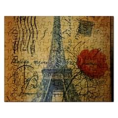 Vintage Stamps Postage Poppy Flower Floral Eiffel Tower Vintage Paris Jigsaw Puzzle (rectangle) by chicelegantboutique