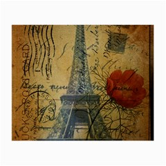 Vintage Stamps Postage Poppy Flower Floral Eiffel Tower Vintage Paris Glasses Cloth (small) by chicelegantboutique