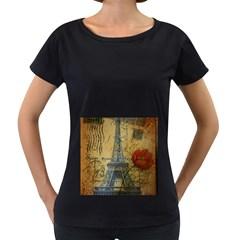 Vintage Stamps Postage Poppy Flower Floral Eiffel Tower Vintage Paris Womens' Maternity T Shirt (black) by chicelegantboutique