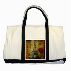 Vintage Stamps Postage Poppy Flower Floral Eiffel Tower Vintage Paris Two Toned Tote Bag by chicelegantboutique