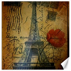 Vintage Stamps Postage Poppy Flower Floral Eiffel Tower Vintage Paris Canvas 12  X 12  (unframed) by chicelegantboutique