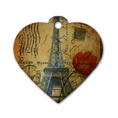Vintage Stamps Postage Poppy Flower Floral Eiffel Tower Vintage Paris Dog Tag Heart (two Sided) by chicelegantboutique