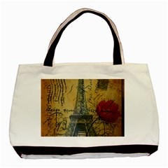Vintage Stamps Postage Poppy Flower Floral Eiffel Tower Vintage Paris Twin Sided Black Tote Bag by chicelegantboutique