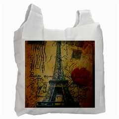Vintage Stamps Postage Poppy Flower Floral Eiffel Tower Vintage Paris Recycle Bag (two Sides) by chicelegantboutique
