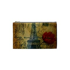 Vintage Stamps Postage Poppy Flower Floral Eiffel Tower Vintage Paris Cosmetic Bag (small) by chicelegantboutique