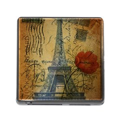 Vintage Stamps Postage Poppy Flower Floral Eiffel Tower Vintage Paris Memory Card Reader With Storage (square) by chicelegantboutique