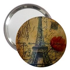 Vintage Stamps Postage Poppy Flower Floral Eiffel Tower Vintage Paris 3  Handbag Mirror by chicelegantboutique