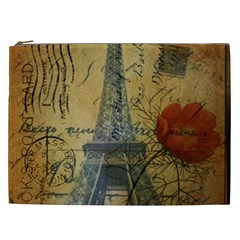 Vintage Stamps Postage Poppy Flower Floral Eiffel Tower Vintage Paris Cosmetic Bag (xxl) by chicelegantboutique