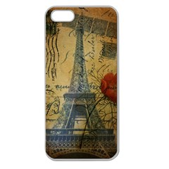 Vintage Stamps Postage Poppy Flower Floral Eiffel Tower Vintage Paris Apple Seamless Iphone 5 Case (clear)