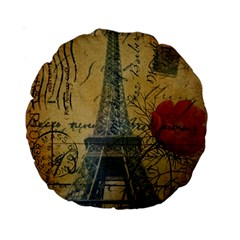 Vintage Stamps Postage Poppy Flower Floral Eiffel Tower Vintage Paris 15  Premium Round Cushion  by chicelegantboutique