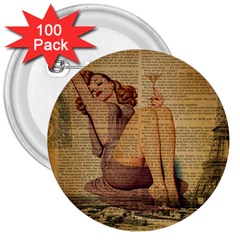 Vintage Newspaper Print Pin Up Girl Paris Eiffel Tower 3  Button (100 Pack)