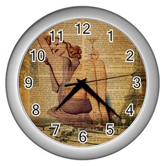 Vintage Newspaper Print Pin Up Girl Paris Eiffel Tower Wall Clock (silver)
