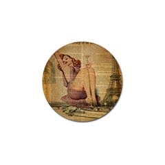 Vintage Newspaper Print Pin Up Girl Paris Eiffel Tower Golf Ball Marker by chicelegantboutique