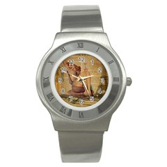 Vintage Newspaper Print Pin Up Girl Paris Eiffel Tower Stainless Steel Watch (unisex) by chicelegantboutique
