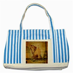 Vintage Newspaper Print Pin Up Girl Paris Eiffel Tower Blue Striped Tote Bag by chicelegantboutique