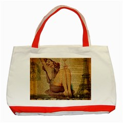 Vintage Newspaper Print Pin Up Girl Paris Eiffel Tower Classic Tote Bag (red) by chicelegantboutique