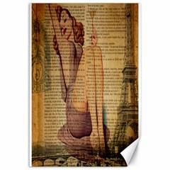 Vintage Newspaper Print Pin Up Girl Paris Eiffel Tower Canvas 12  X 18  (unframed) by chicelegantboutique