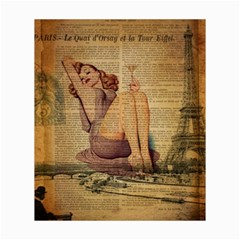 Vintage Newspaper Print Pin Up Girl Paris Eiffel Tower Canvas 20  x 24  (Unframed) by chicelegantboutique