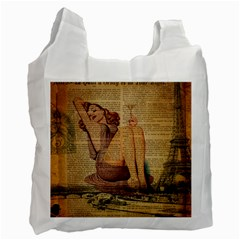 Vintage Newspaper Print Pin Up Girl Paris Eiffel Tower Recycle Bag (two Sides) by chicelegantboutique