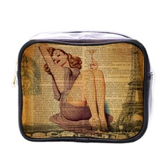 Vintage Newspaper Print Pin Up Girl Paris Eiffel Tower Mini Travel Toiletry Bag (one Side) by chicelegantboutique