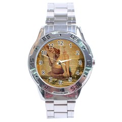Vintage Newspaper Print Pin Up Girl Paris Eiffel Tower Stainless Steel Watch (men s) by chicelegantboutique