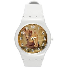 Vintage Newspaper Print Pin Up Girl Paris Eiffel Tower Plastic Sport Watch (medium) by chicelegantboutique