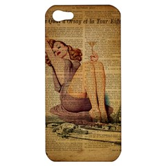 Vintage Newspaper Print Pin Up Girl Paris Eiffel Tower Apple Iphone 5 Hardshell Case by chicelegantboutique