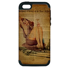 Vintage Newspaper Print Pin Up Girl Paris Eiffel Tower Apple Iphone 5 Hardshell Case (pc+silicone) by chicelegantboutique