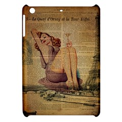 Vintage Newspaper Print Pin Up Girl Paris Eiffel Tower Apple Ipad Mini Hardshell Case by chicelegantboutique