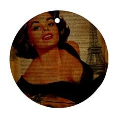Vintage Newspaper Print Pin Up Girl Paris Eiffel Tower Round Ornament