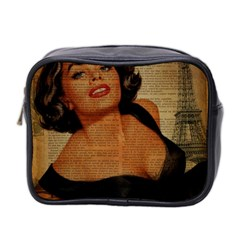 Vintage Newspaper Print Pin Up Girl Paris Eiffel Tower Mini Travel Toiletry Bag (two Sides) by chicelegantboutique