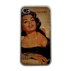 Vintage Newspaper Print Pin Up Girl Paris Eiffel Tower Apple Iphone 4 Case (clear) by chicelegantboutique