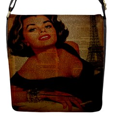 Vintage Newspaper Print Pin Up Girl Paris Eiffel Tower Removable Flap Cover (small) by chicelegantboutique