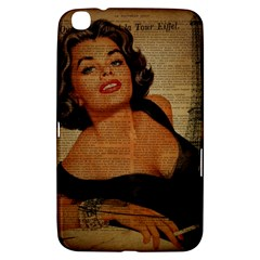 Vintage Newspaper Print Pin Up Girl Paris Eiffel Tower Samsung Galaxy Tab 3 (8 ) T3100 Hardshell Case  by chicelegantboutique
