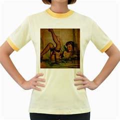 Vintage Newspaper Print Sexy Hot Pin Up Girl Paris Eiffel Tower Womens  Ringer T Shirt (colored) by chicelegantboutique